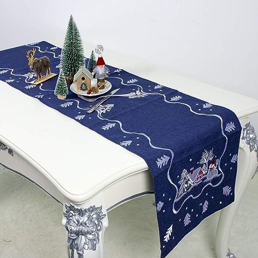 Decoraciones navideñas Tela Santa Claus Bordado Camino de Mesa ...