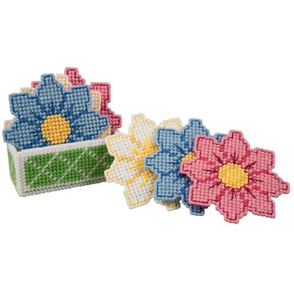 Craftways Daisy Coasters with Holder Plastic Canvas Kit by Craftways   B00R8VEV9K
