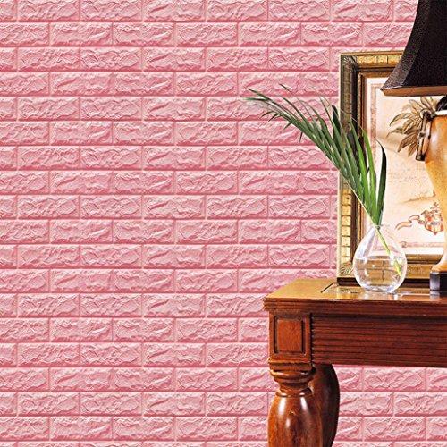 Pink Brick - Tuscom PE Foam 3D Wallpaper DIY Wall Stickers Wall Decor Embossed Brick Stone, (Pink)
