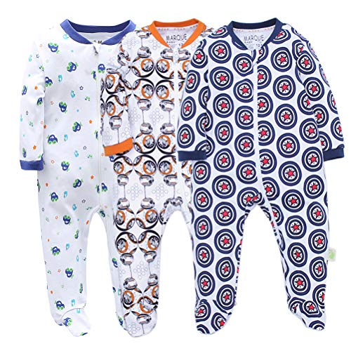 3 Pack Baby Boys' Footed Pajama - 100% Cotton Zip Front Sleep and Play Sleeper 18M