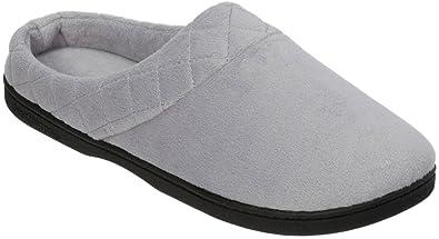 94bb019b6 Dearfoams Womens Velour Quilted Clog Slippers Medium Grey