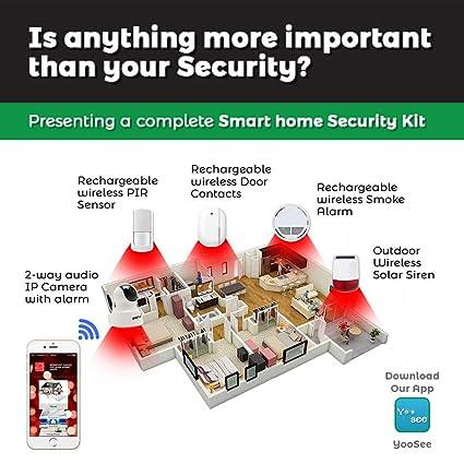 Kit de sistema de alarma de seguridad WiFi DIY con cámara IP, sensor de puerta