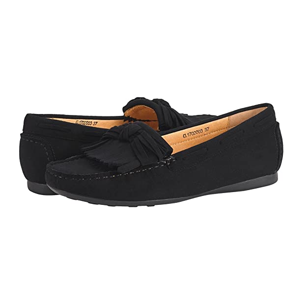 JENN ARDOR Mocasín con borlas de Ante Tassel para Mujer: Mocasines con mocasín con Cordones y Nudo de Proa-Negro: Amazon.es: Zapatos y complementos