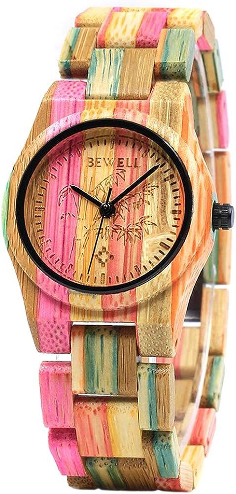 BEWELL Relojes Madera Unisex Analógico Cuarzo Japonés con Correa de Madera W105D