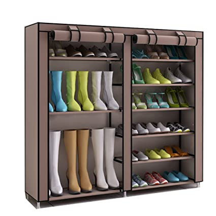55ae3acd018f TXT&BAZ 27-Pairs Portable Boot Rack Double Row Shoe Rack Covered Nonwoven  Fabric (7-Tiers Brown)