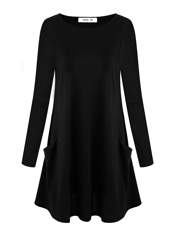 TALLA XXL. DSUK Mujer Tops Vestido Manga Larga Bolsillo Lateral Camiseta Basica Cuello Redondo Túnica T Shirt Negro XXL