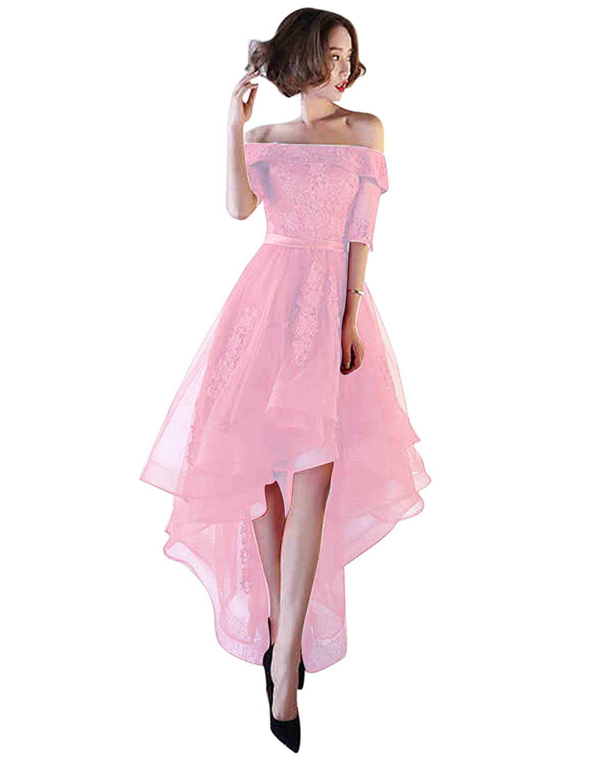 Pink BessWedding Women's Tulle High Low Homecoming Dresses Short 2018 Formal Prom Gown BHZ707