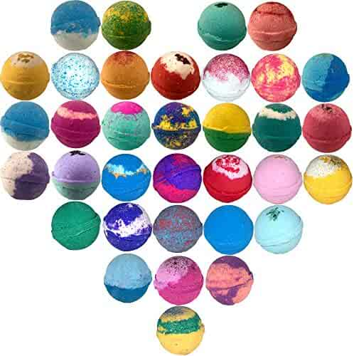 10 Large Bath Bombs, USA Made Gift Set - Ultra Lush Bath Fizzies -Over 200 Different Varieties, Assorted Gift Box Vegan Kids Love Them Perfect Gift For Her Spa Moisturize Kit Organic Shea Butter