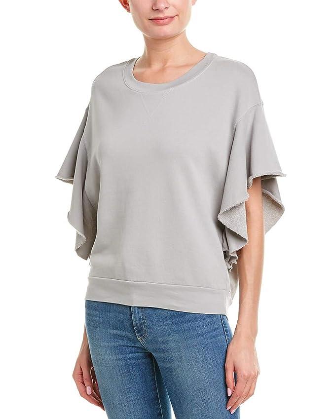 Stateside Womens French Terry Ruffle T Shirt, M, Grey by Stateside