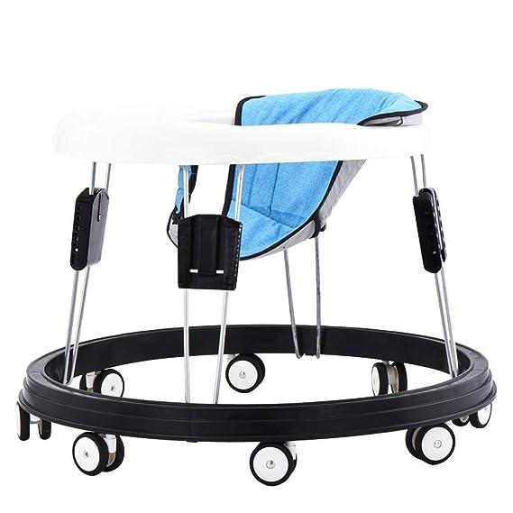 Andador bebe, silla de bebé plegable y ajustable para bebés mayores de 6 meses (Azul)