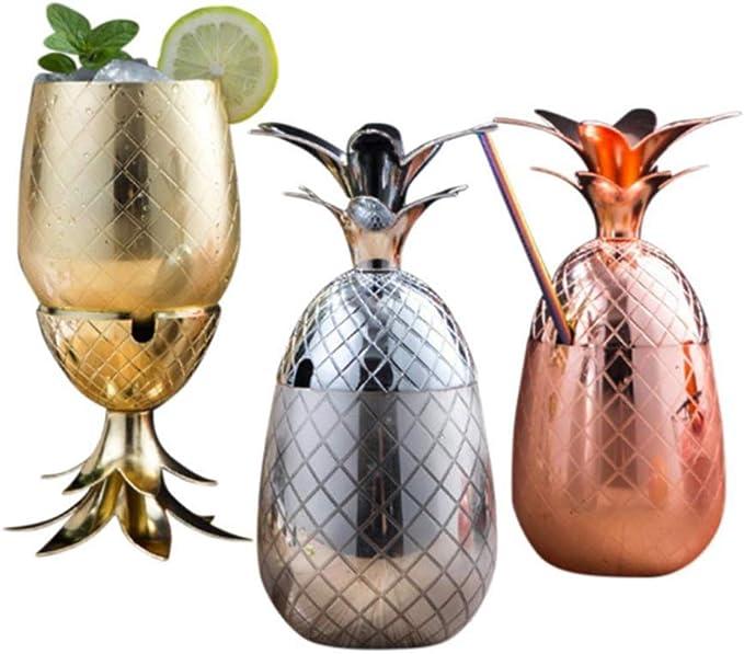 CHUN LING Licuadora de Vaso de cóctel de Acero Inoxidable 3 Piezas, Kit Moderno de coctelera de Ron Medieval, Tazas de Cobre en Forma de piña, ...