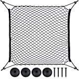 Zacro Car Rear Cargo Net 70 * 70 cm with 4 Hooks, Universal Car Trunk Cargo Net with 4 Replacement Round Buttons Luggage Storage Organizer
