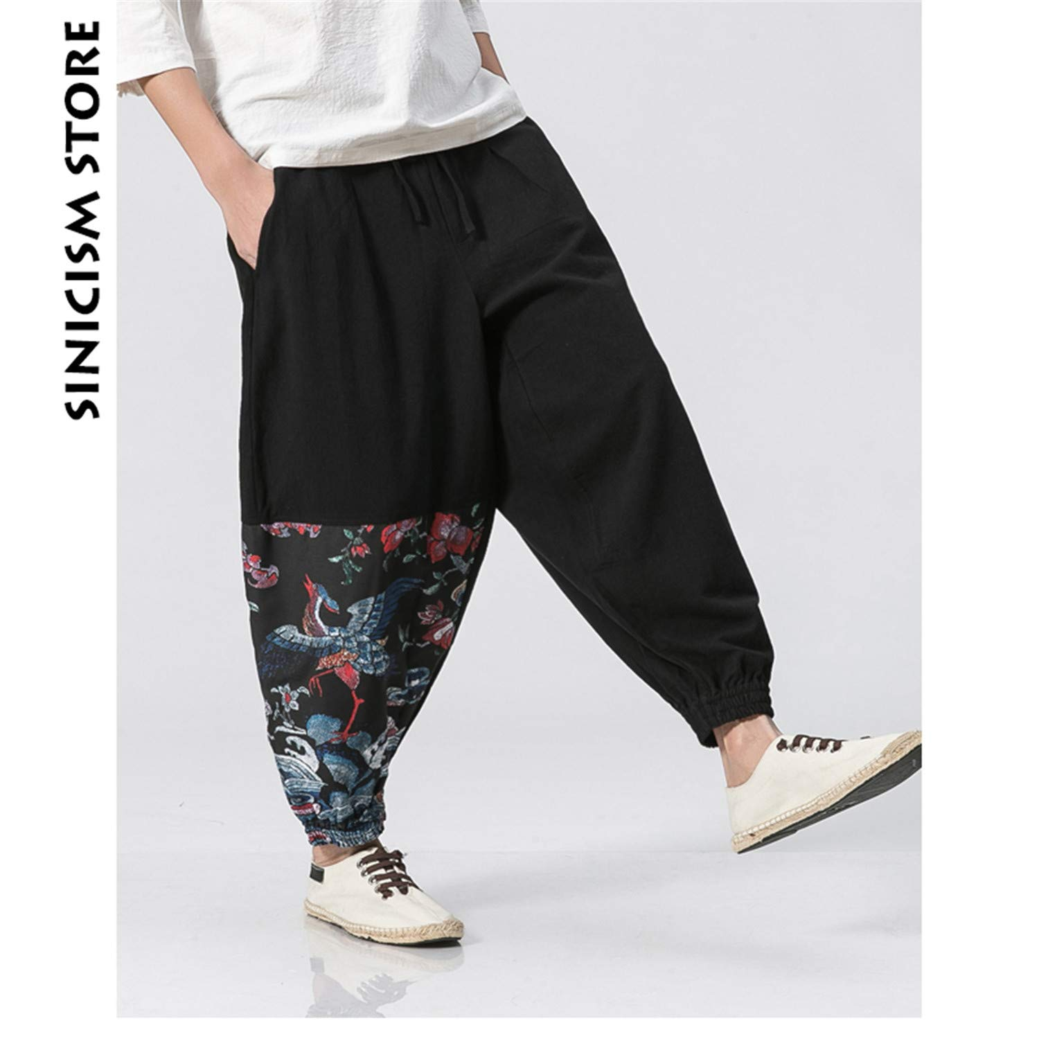 MASCHERANO Linen Harem Pants Mens Summer Jogger Pants New Pattern Print Baggy Loose Pants