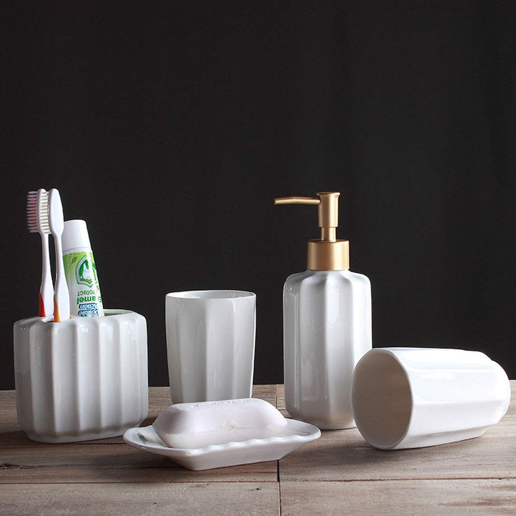 Simple White Ceramic Five-Piece Bathroom Set European Style Bathroom Supplies Kit Dental Equipment Mouth Cup Washing Set 1800g