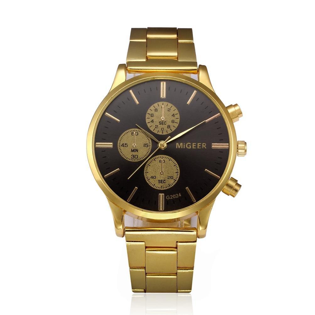 Men Watches Steel Quartz Men Wrist Watch Male Clock Fashion Man Crystal Stainless Steel Analog Quartz Wrist Watch Men's Sports Quartz Watch Men Watch Man Quartz Clock male Fashion Susenstone (Black)