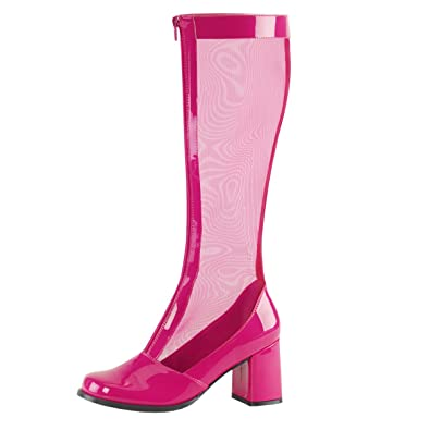 3e2d1c9eedb0 Summitfashions Womens Hot Pink Boots Mesh Knee High Go Go Boots Stretch  Chunky 3 Inch Heels