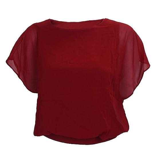 TOOGOO(R)Blusa de manga de la gasa gorda del color del caramelo de