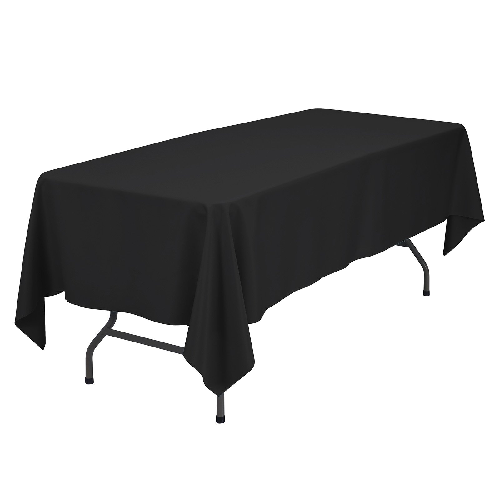 VEEYOO 60 x 102 inch Rectangular Solid Polyester Tablecloth for Wedding Restaurant Party Rectangle/Oblong/Oval Table, Black