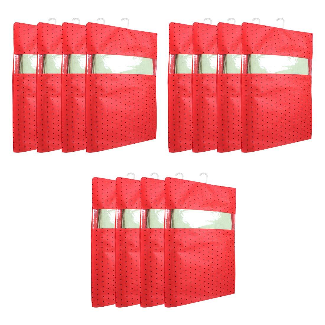PrettyKrafts dots Printed Hanging Saree Cover Wardrobe Organiser (Set of 12 pcs) - Red (B081W5GM3L) Amazon Price History, Amazon Price Tracker