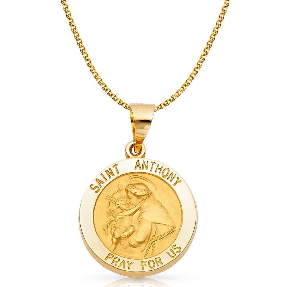 14K Yellow Gold St Anthony Charm Pendant with 1.7mm Flat Open Wheat Chain Necklace