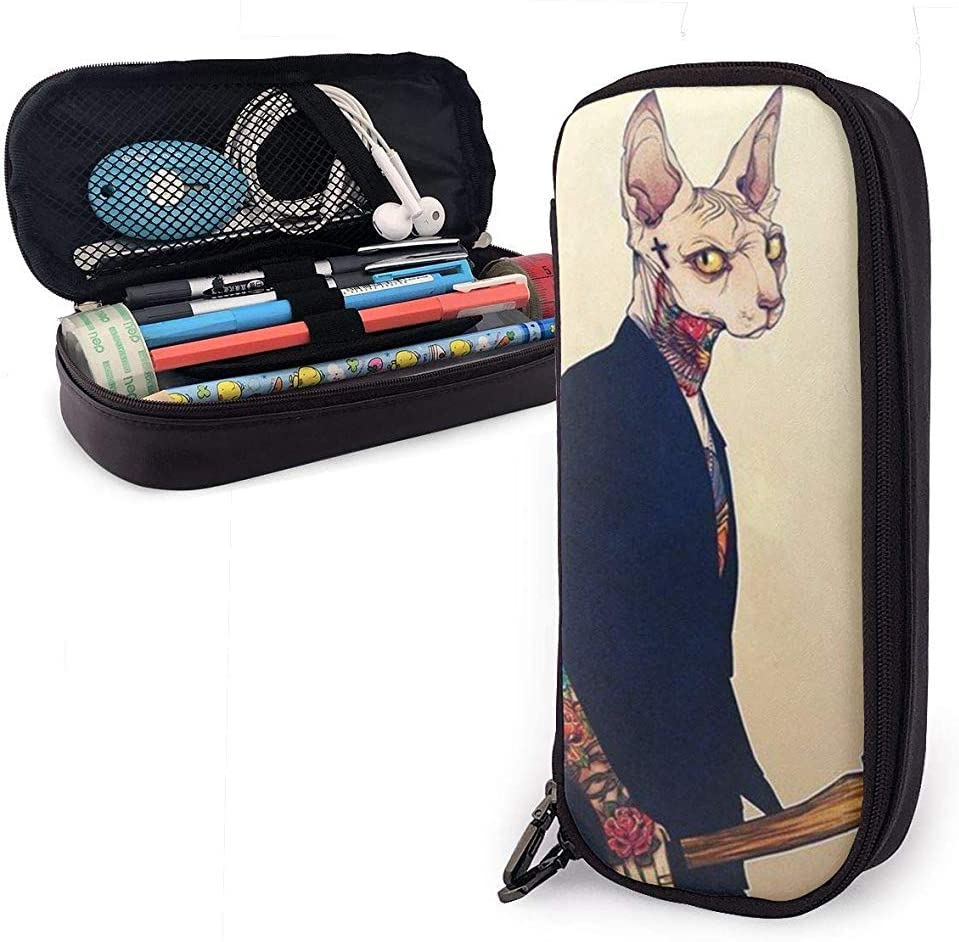 The Cat with The Axe, The Sphinx Cat Leather Pencil Case,Pencil Bag Pouch with Zipper Pen Holder Nanoprint Leather Stationary Case: Amazon.es: Oficina y papelería