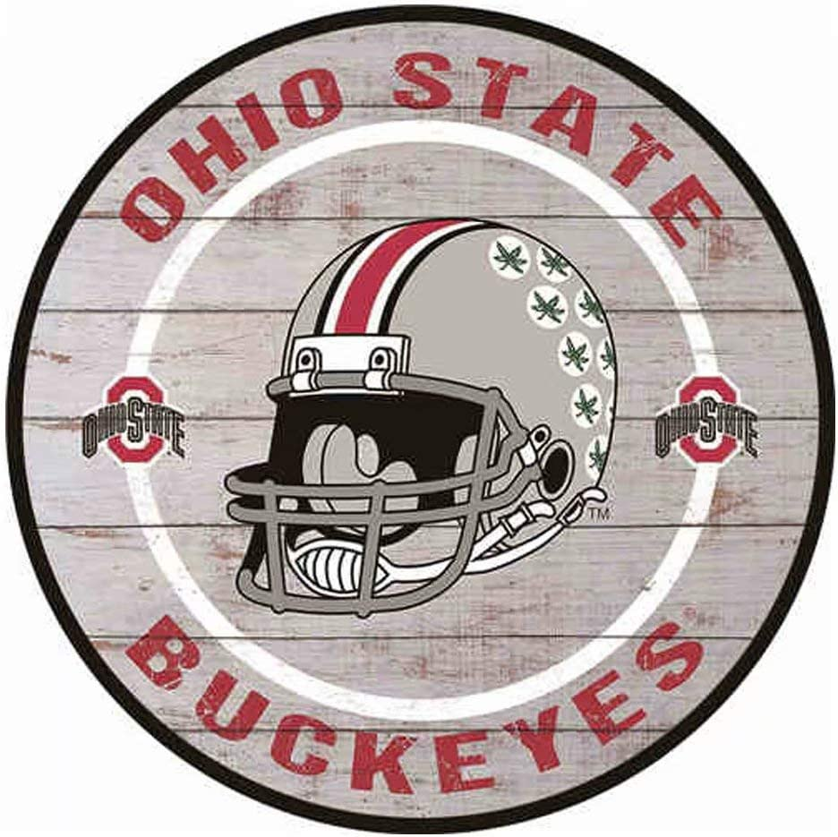Poeni Vintage Metal Signs Round Tin Signs Ohio State Buckeyes Metal Posters for College Dorm