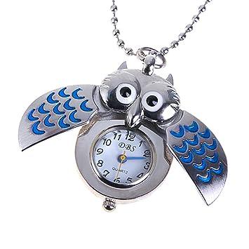1e1e6116c639 Plata Y Azul Mini Búho Reloj De Bolsillo Del Collar  Amazon.es  Bricolaje y  herramientas