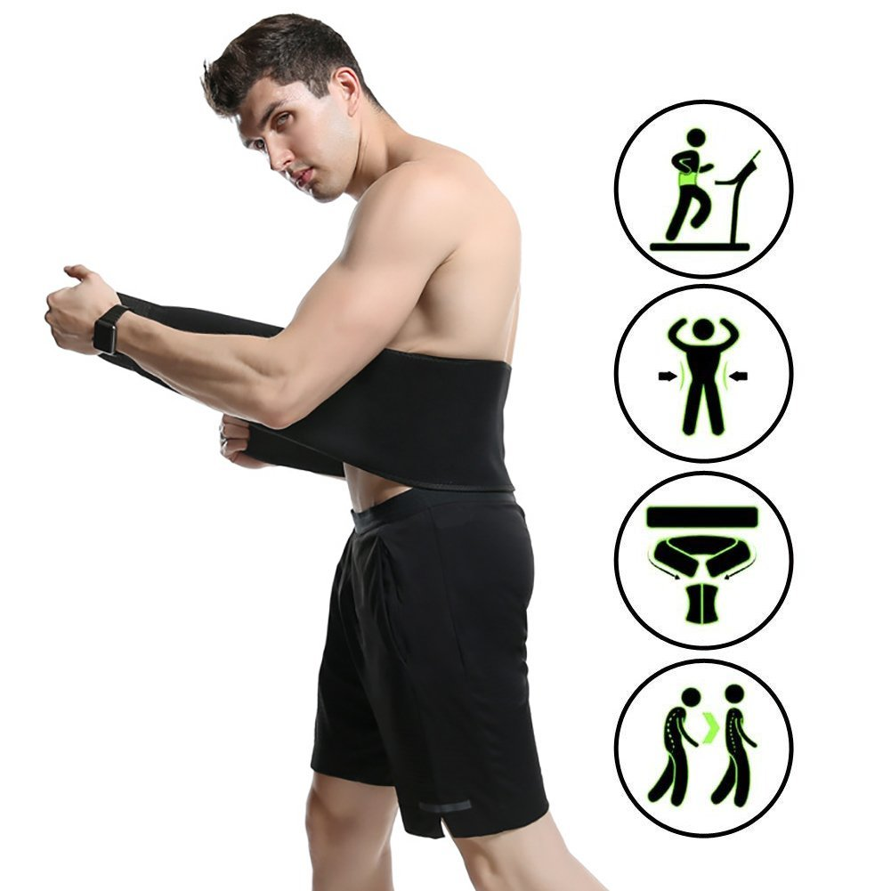 FTEOX Waist Trimmer Belt,Breathable Absorb Sweat Waist Trimmer for Women & Men,Adjustable Stomach Fat Burner for Lower Back Support,Stomach and Back Lumbar Support