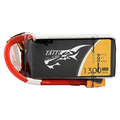 Tattu 11.1V 1300mAh 75C 3S LiPo Battery Pack with XT60 Plug for RC Boat Heli Airplane UAV Drone FPV Nemesis 240 Mini Skylark M4-FPV 250 Mini Shredder 200 INDY250 Plus Mojo 280 HOVERSHIP MHQ2: Toys & Games