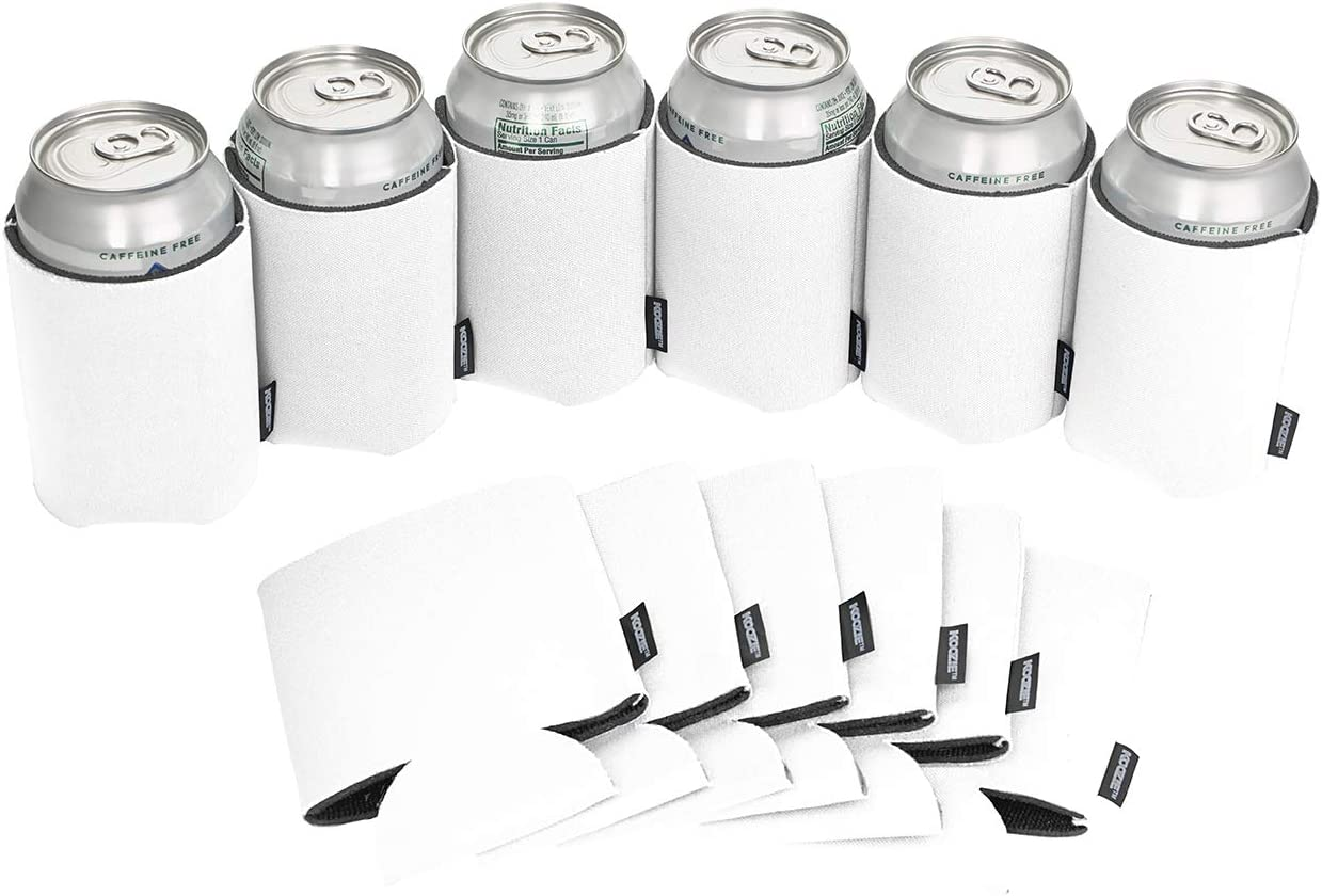 Koozie Can Cooler Blank Beer Koozie for Cans and Water Bottles, Bulk DIY Insulated Beverage Holder Personalized Gifts for Events, Bachelorette Parties, Weddings, Birthdays - Pack of 12 White