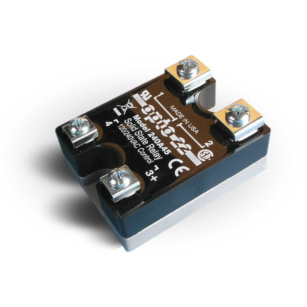 Opto 22 240A45 AC Control Solid State Relay, 240 VAC, 45 Amp, 4000 V Optical Isolation, 1/2 Cycle Maximum Turn-On/Off Time, 25 - 65 Hz Operating Frequency by Opto 22