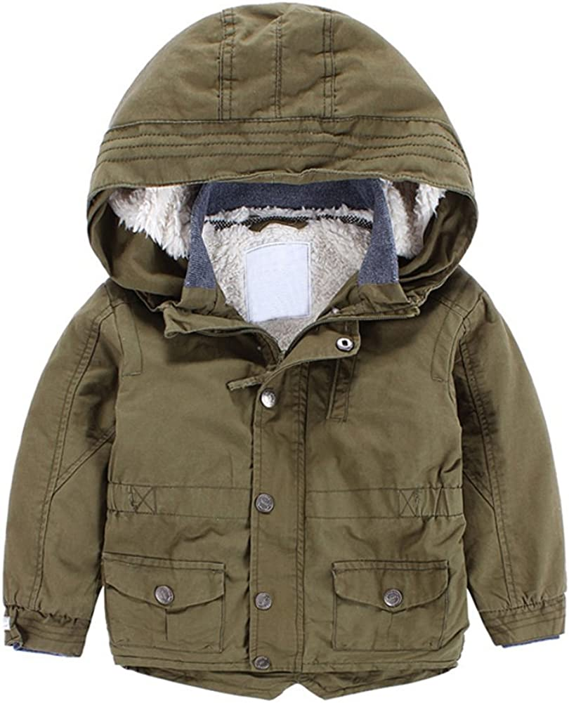 Green, 5 Years Tortor 1Bacha Little Boys Hooded Thicken Trench Coat Fleece Lined Outwear