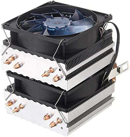 Reeamy-Home Ventiladores de Caja Tubos de Cobre de 3 Pines Seis Calor Azul retroiluminada Ventilador de la CPU Compatible con Intel 775 1150 1151 AMD Caja de la computadora Ventilador Radiadores: Amazon.es: Hogar
