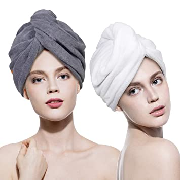 2 Pcs Cartoon Magic Hair Drying Bath Towel Hat Cap for Lady Quick Dry Wrap