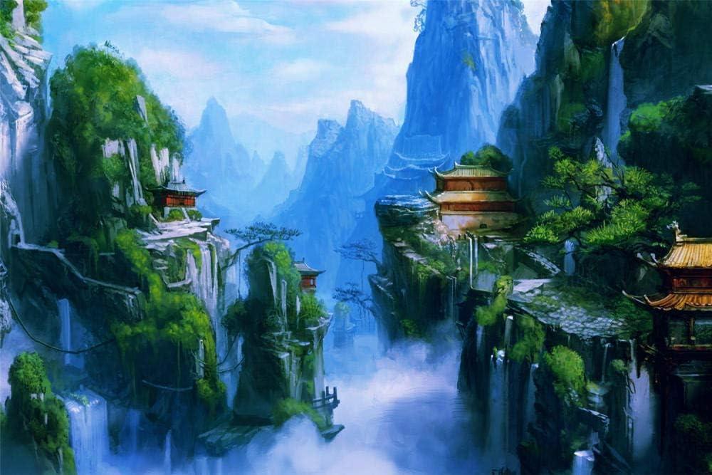 Puzzles 1000 Pieces,Fantasía Arte Asiático Oriental Castillos Montañas Cascadas Niebla Rompecabezas De Paisajes Naturales,Juego De Jigsaws Puzzle Para Niños Adultos-75*50Cm(Puzzle De Pintura)