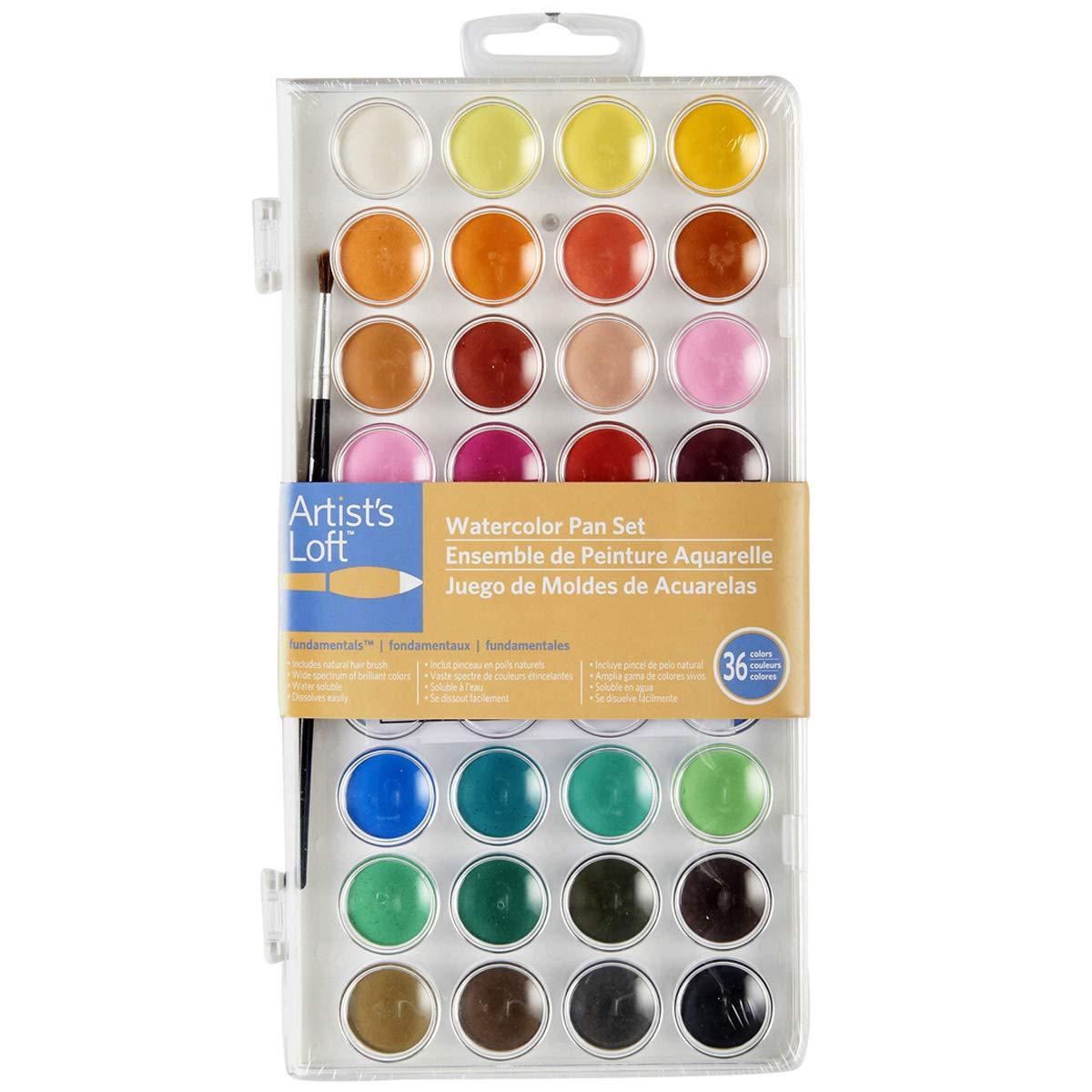 Artists Loft Fundamentals Watercolor Pan Set, 36 Colors