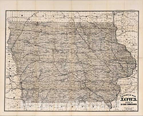 Rare Railroad Map Atlas - Historic Map | Railroad Map of Iowa, 1881 | Vintage Wall Art | 30in x 24in