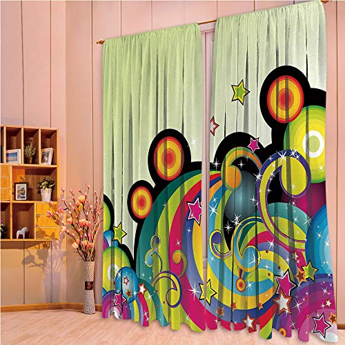 ZHICASSIESOPHIER Modern Style Room Darkening Blackout Window Treatment Curtain Valance for Kitchen/Living Room/Bedroom/Laundry,Elements Circles Dots Swirls Stars Joyful Fun 108Wx73L Inch (Valance Circle Dot)