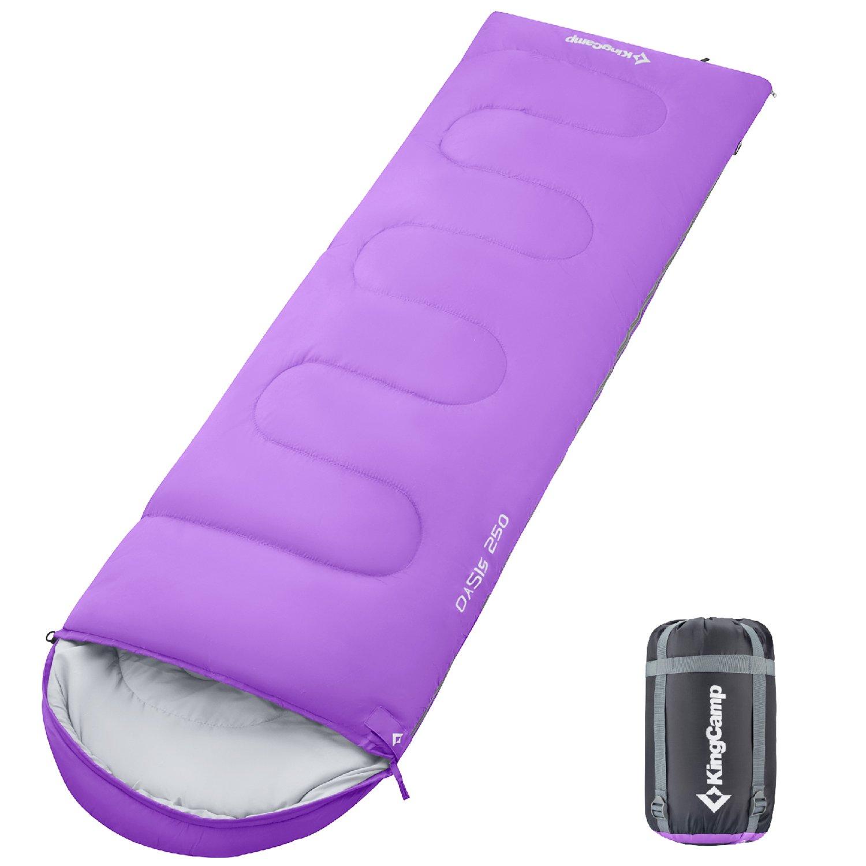 KingCamp封筒SleepingバッグSpliced大人用ポータブル軽量と快適防水with圧縮袋4シーズンのキャンプハイキングアウトドア活動 B072R3V8YG Left Zipper|パープル パープル Left Zipper