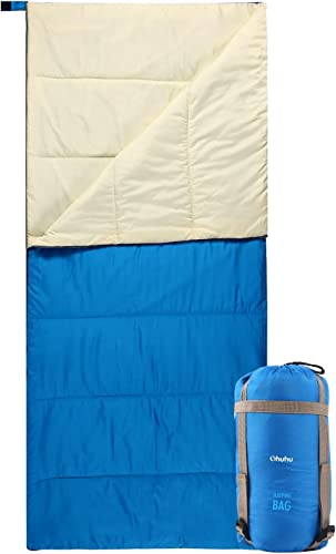 Ohuhu Summer Sleeping Bag, 3 Season Warm Weather Sleeping Bags Portable Lightweight Waterproof Adult Sleeping Bag with Compression Sack for Adults, Teen, Camping, Backpacking, Hiking, Traveling