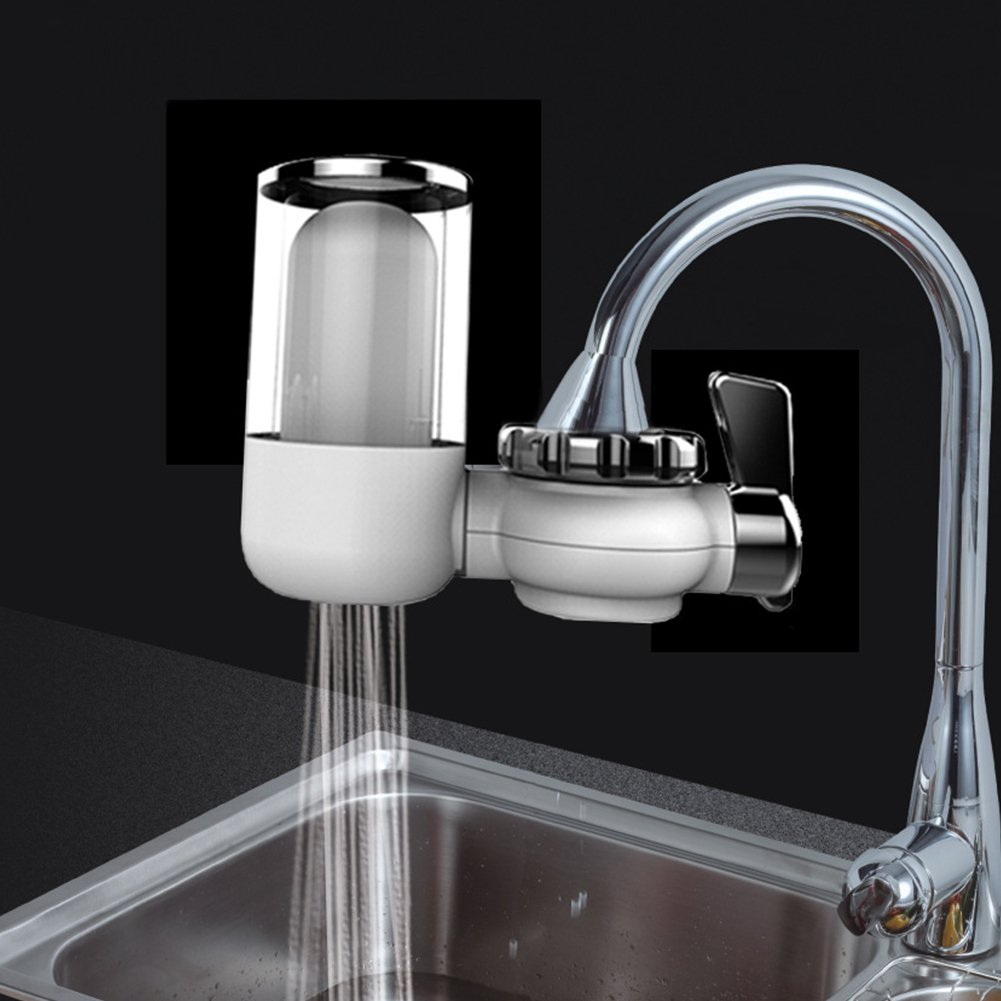 GEZICHTA Tap Water Purifier, Water Purification, Washable Composite, Filters Chlorine, Fluoride, Bacteria, Viruses, Chemicals Pesticides & Limescale for Kitchen Bath