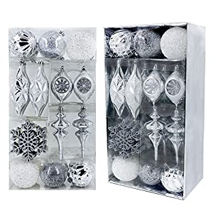 Valery Madelyn 50ct Frozen Winter Shatterproof Christmas Ball Ornaments Decoration Silver White,Themed with Tree Skirt…