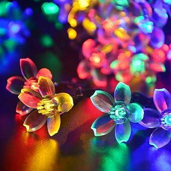 Coomatec luz de Navidad 50 7M flor de durazno forma cadena accionada Solar hadas luces LED
