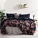 Kids Flower Duvet Cover Set, Girls Floral Leaf Black Bedding Set with Soft Lightweight Microfiber 1 duvet cover and 1 Pillow Sham by Leadtimes(Twin, Style8)