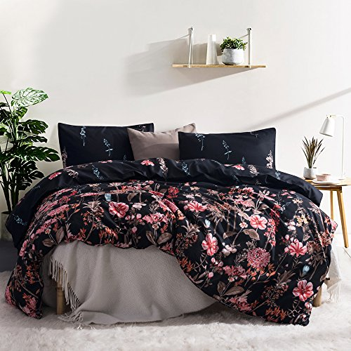 Kids Flower Duvet Cover Set, Girls Floral Leaf Black Bedding Set with Soft Lightweight Microfiber 1 duvet cover and 1 Pillow Sham by Leadtimes(Twin, Style8) - Floral Bed Set