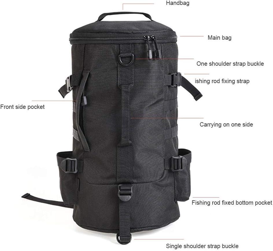 Pandao Angelrucksack zylindrischer Angelrucksack Rucksack aus Polyester mit gro/ßer Kapazit/ät und Angelrutenhalter zum Angeln im Freien