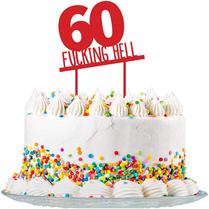 Fantastic Amazon Com Funny 60Th Birthday Cake Topper Sign Cut From 3Mm Red Funny Birthday Cards Online Hendilapandamsfinfo