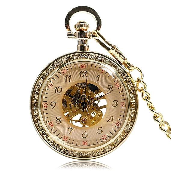 Reloj de Bolsillo único, Reloj de Bolsillo mecánico Vintage, Grabado con Colgante, Reloj de Cuerda Manual Regalo para Hombres: Amazon.es: Relojes