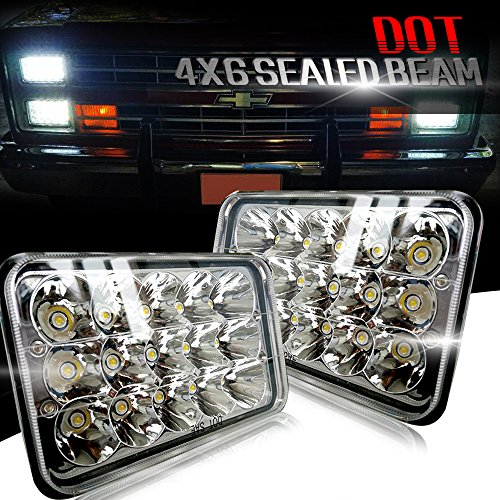 TURBOSII DOT Approved Sealed Beam 4X6 LED Headlight Assemblies Hi/Lo Replace H4651 H4656 Hid Bulb Headlamps KW Kenworth T600 W900 T800 Truck Peterbilt 379 Chevy S10 Blazer RV Freightliner Semi 2PCS