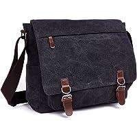 Aizbo Men's Shoulder Messenger Bag Canvas Crossbody Work/Day Bag Laptop Bag for 15 Inches, Large Size
